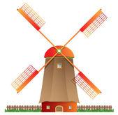 Traditional windmill illustration — Stock Vector