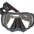 A black mask for scuba diving. On a white background. — Stock Photo