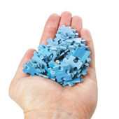 A stack of puzzles palm on a white background. — Stock Photo