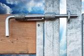 Sky-freedom closed on the lock. — Stock Photo