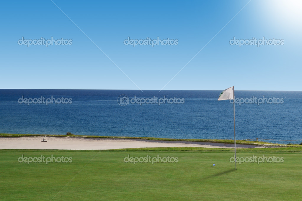 Golf course on the ocean. Portugal. — Stock Photo #9134435