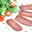 Stock Photo: Composition of slices of smoked tuna.