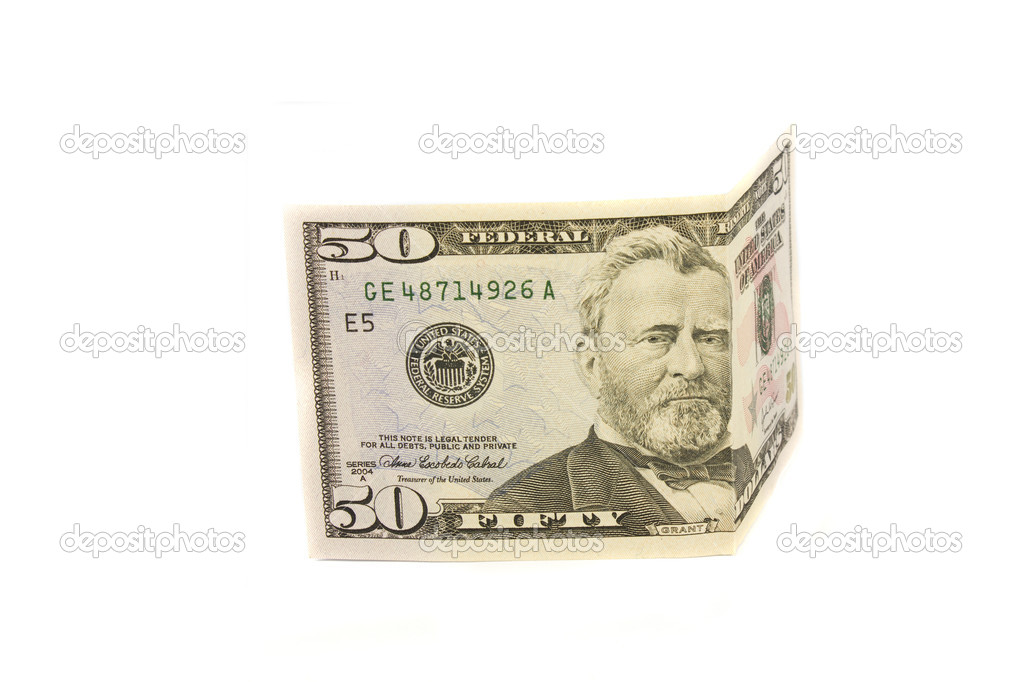 Fifty dollars isolated on white — Stock Photo #8097184