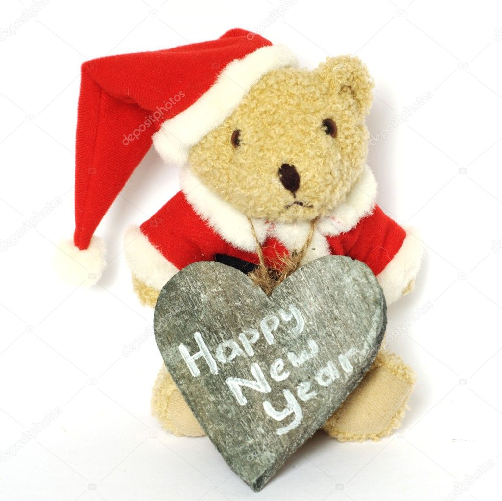 Teddy bear saying happy new year — Stock Photo #8186416