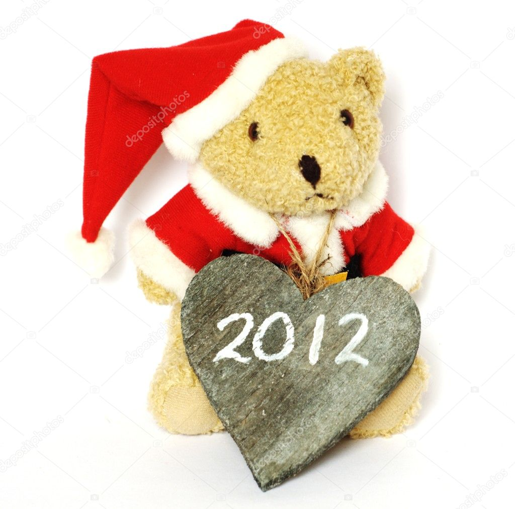 Teddy bear saying happy new year  Stock Photo #8186459
