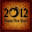 Black Dragon. 2012 New Year Card — Stock Vector #8089036