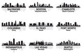 American cities skyline 2 — Stock Vector