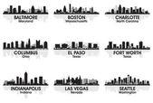 American cities skyline 2 — Stock Vector