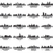 Incredible set of USA city skyline. 30 cities. — Image vectorielle
