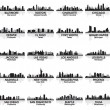 Incredible set of USA city skyline. 30 cities. — Векторная иллюстрация