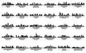Increíble juego de horizonte de la ciudad de estados unidos. 30 ciudades. — Vector de stock