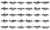 Otrolig uppsättning usa stadssilhuetten. 30 städer. — Stockvektor