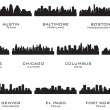 Silhouettes of the USA cities_1 — Stok Vektör