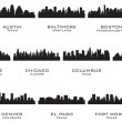 Stok Vektör: Silhouettes of the USA cities_1