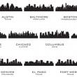 silhuetas da cities_1 EUA — Vetorial Stock