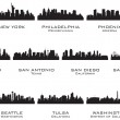 Silhouettes of the USA cities_3 — Stok Vektör