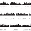 Stok Vektör: Silhouettes of the USA cities_3