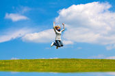 Jump in the meadow — Stock Photo