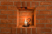 Candle in a Wine Cellar — Stock Photo