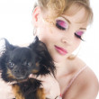 Fashion portrait women with little dog — Stock Photo