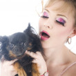 Fashion portrait women with little dog — Stock Photo #10310871