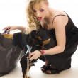 Young glamorous blonde with shopping bag holding toy terrier dogs holding dog — Stock Photo