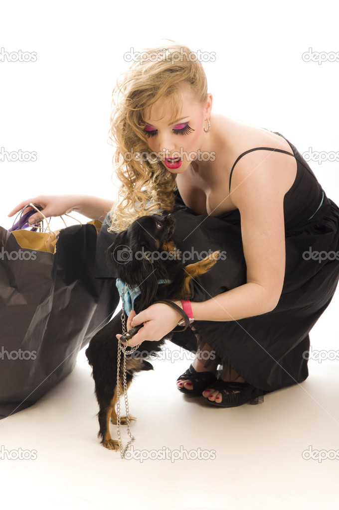 Young glamorous blonde with shopping bag holding toy terrier dog — Stock Photo #9991541