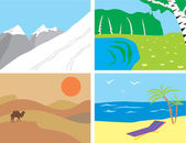 Landscapes in the primitive style — Stock Vector