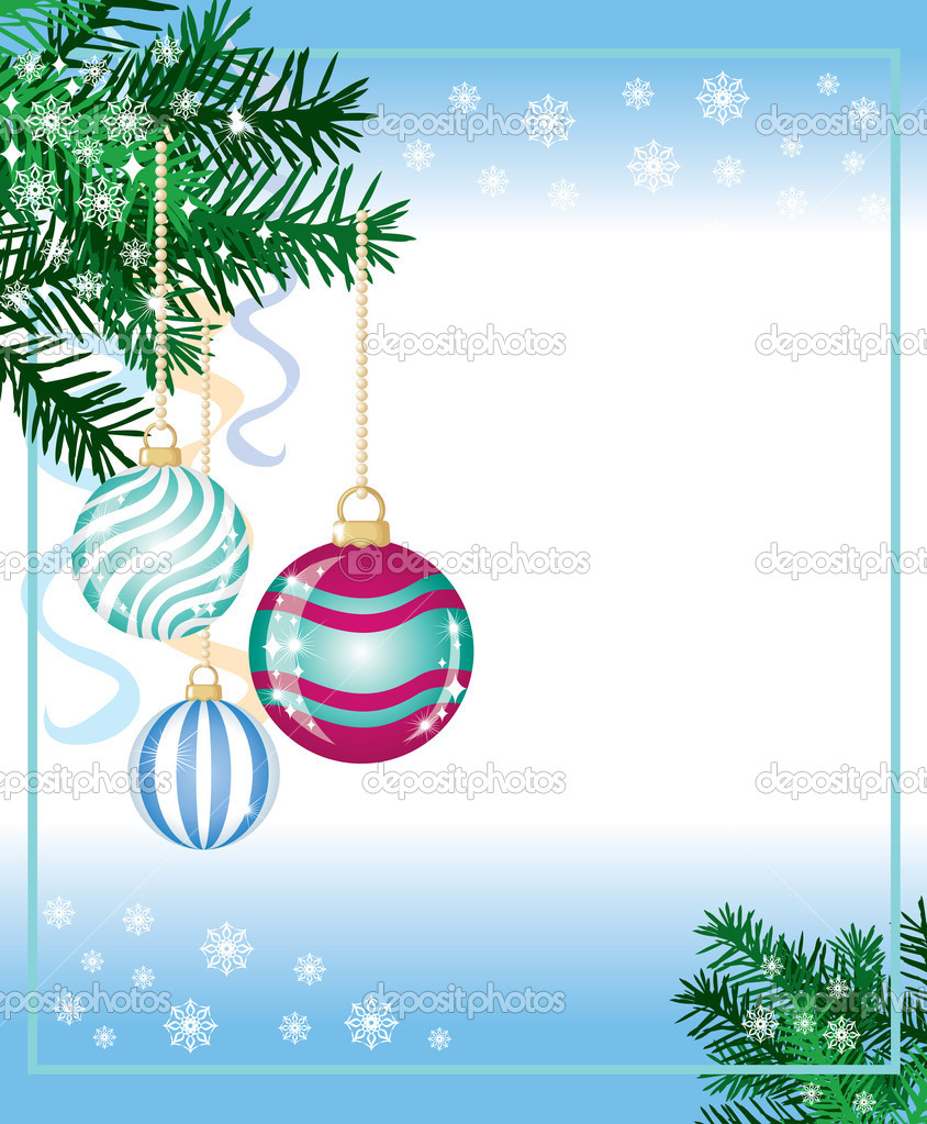 New years background from the fir paws, balls and snowflakes — Stock Vector #8216223