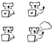 The koala with a laptop — Stock Vector