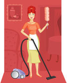 A woman with a vacuum cleaner — Stock Vector
