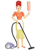 A woman with a vacuum cleaner — 图库矢量图片