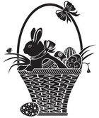 Basket with the hare — Stock Vector