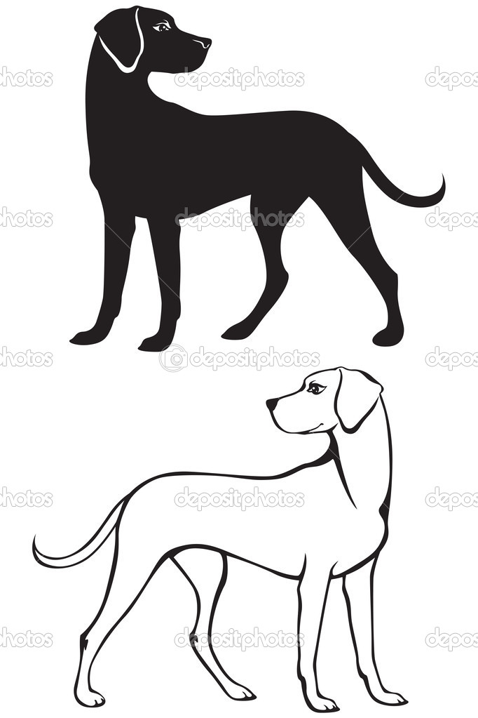 剪影和轮廓的狗 — 图库矢量图像08