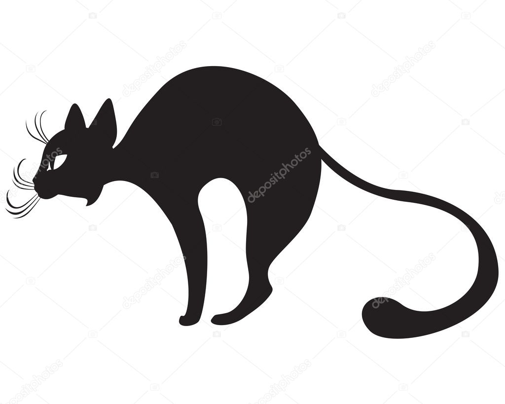 The silhouette of black graceful cats in the profile — Stock Vector #9389108