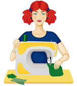 Woman sews — Stock Vector