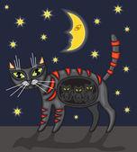 ночная кошка — Cтоковый вектор