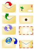 Email and arrow envelope icons set isolated on white — Stock Vector