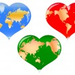 3 heart with a map — Stock Photo
