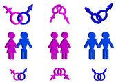 3d símbolos masculinos y femeninos de colección — Foto de Stock
