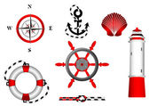 Nautical and adventure icons set for design — Stock Vector