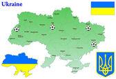 ウクライナの地図。ベクトル。旗、紋章付き外. — ストックベクタ