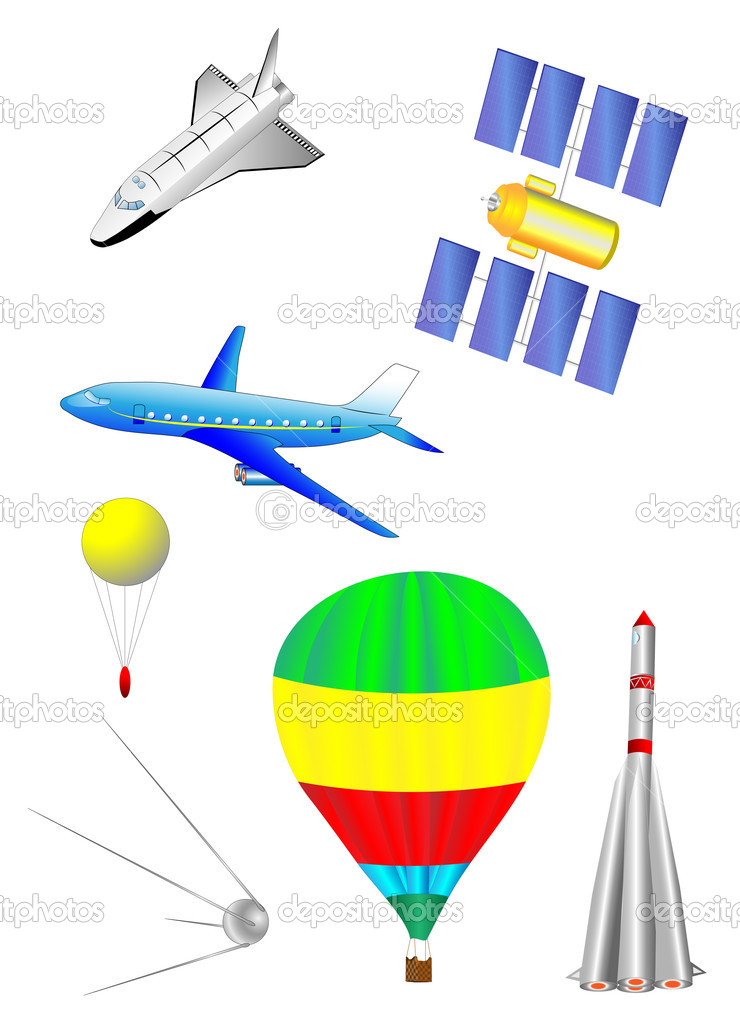 Astronautics and Space Icons set. Spaceship, Shuttle, first spacecraft, communications satellite, rocket and balloon. — Stock Vector #8513636