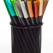 Markers in pencil holder - Stock Photo