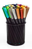 Markers in pencil holder — Stock Photo