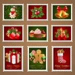 Christmas postage. — Stock Vector