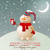 Christmas vintage snowman. — Stock Vector