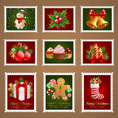 Christmas postage. — Stock Vector