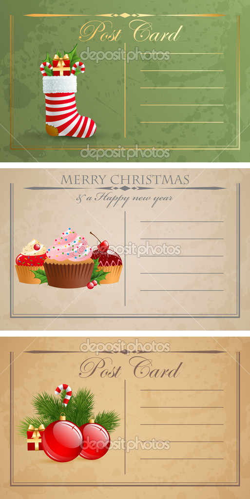 Vintage christmas postcards. — Stock Vector #8098917