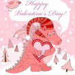 Valentine's day. Pink dragon with heart. — Stock Vector